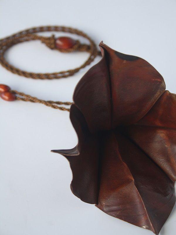Fold Formed 3 Pendant 2 By Yoshiko Ito Copper,Silk cord