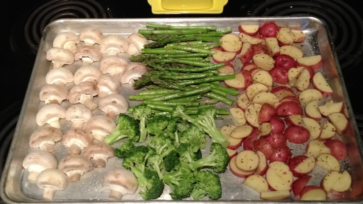 Mushrooms, asparagus, broccoli, red baby potatoes, olive oil ( spray pump...bought at Walmart), salt, pepper, veggie seasoning!  Bake at 400'F for 35 minutes! The broccoli and asparagus come out crispy!! Yum yum.
