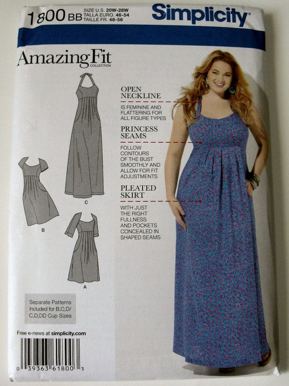 Simplicity Sewing Pattern 1800 Plus Size BB 20W-28W Amazing Fit Women's Dress New and Uncut Pattern on Etsy, $5.00