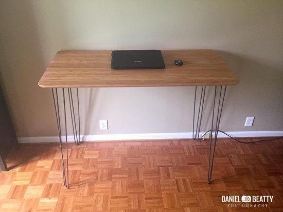 Bureau en bambou et m tal bureaux bureaux et jambes for Meuble bureau jambes