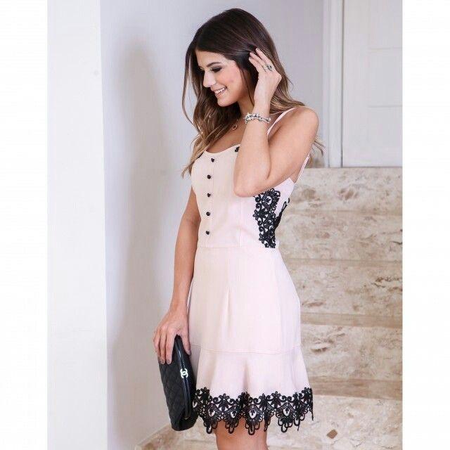 { Vestido rosé com renda preta }  Lançamento  #LuziaFazzolli #CotedAzur #Summer16