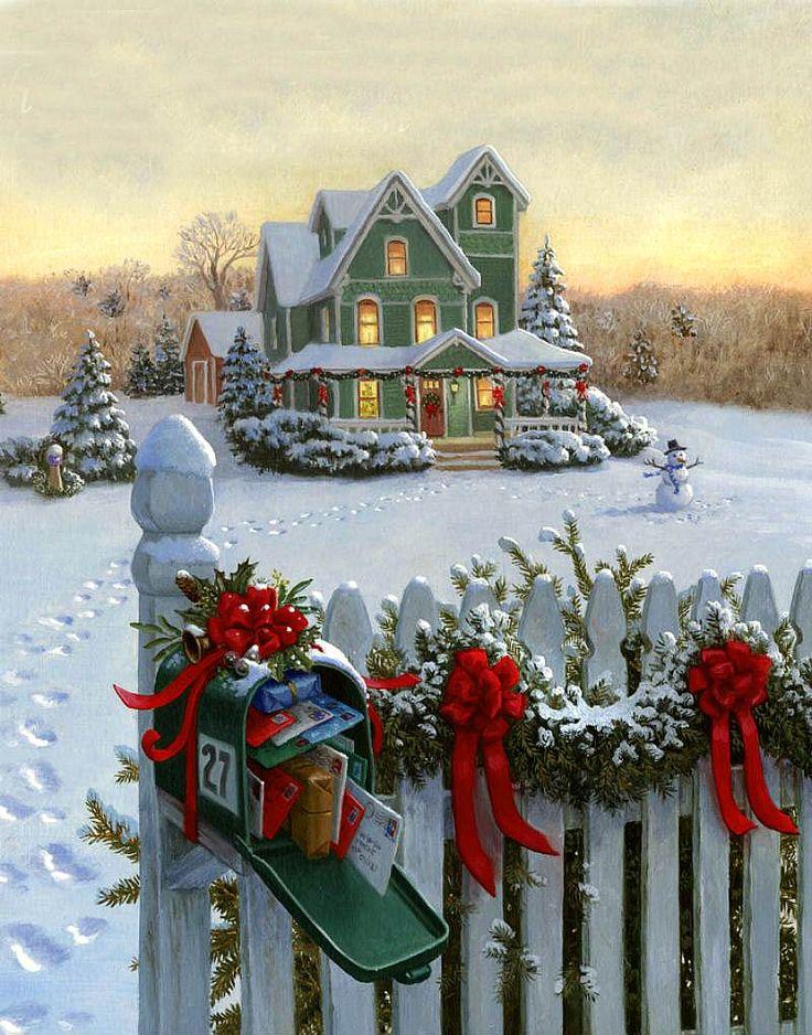 Рабочего, рождественские открытки домик