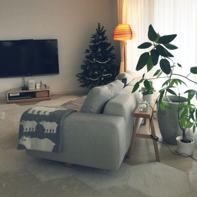 haruhinaさんの、リビング,観葉植物,無印良品,照明,ソファ,北欧,マンション,クリスマス,ブランケット,クリスマスツリー,クリッパン,ヤコブソンランプ,クリスマスオーナメント,プラスティフロア,ベツレヘムの星,アーバニア,のお部屋写真