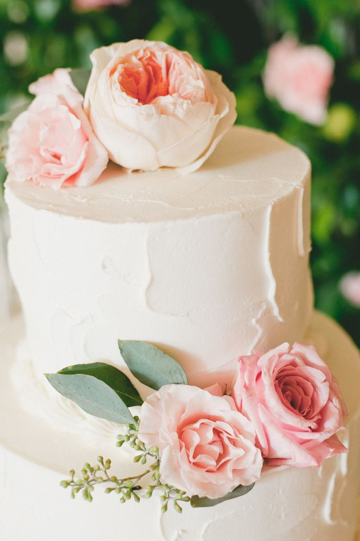 Wedding Cake with Pink Roses on SMP: http://www.StyleMePretty.com/california-weddings/2014/02/20/blush-pink-wedding-at-the-athenaeum/ onelove photography