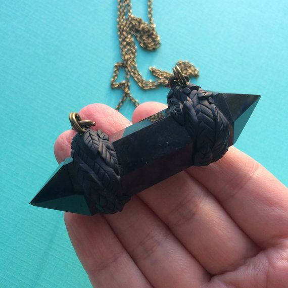 Double Terminated Black Obsidian Clay Leaf Necklace  by JLPdesigns