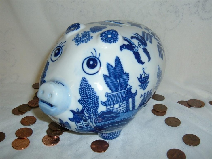 White Blue Willow Pig Piggy Bank Banks Asian Oriental Pagoda Chinese Japanese | eBay