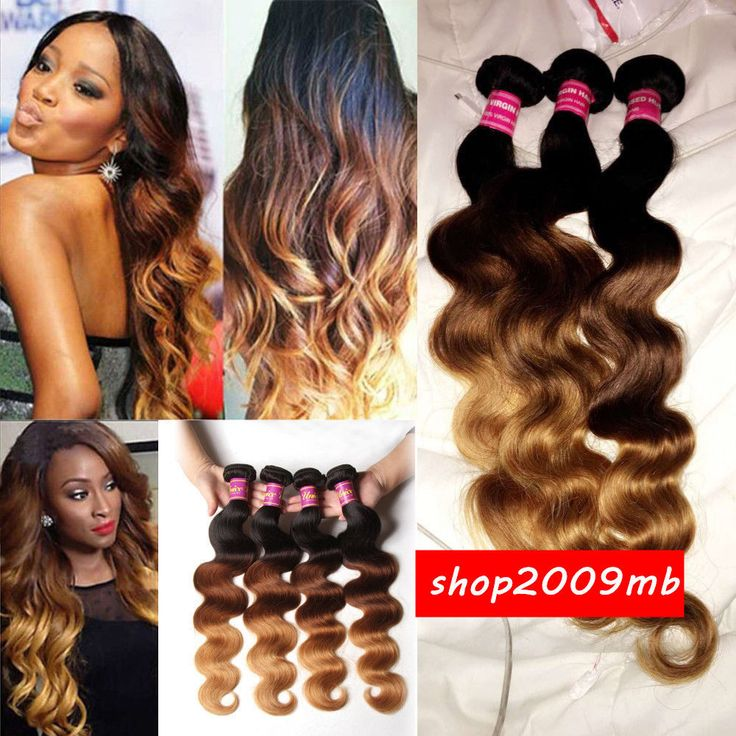 Bundles Ombre 3 Tone Brazilian Body Wave Virgin Human Hair Weave Weft 1B/33#/27 #Unbranded #WaveBundle