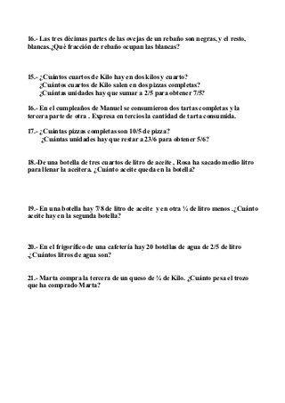 Problemas de matematicas decimales y fracciones 6º de primaria | cocina