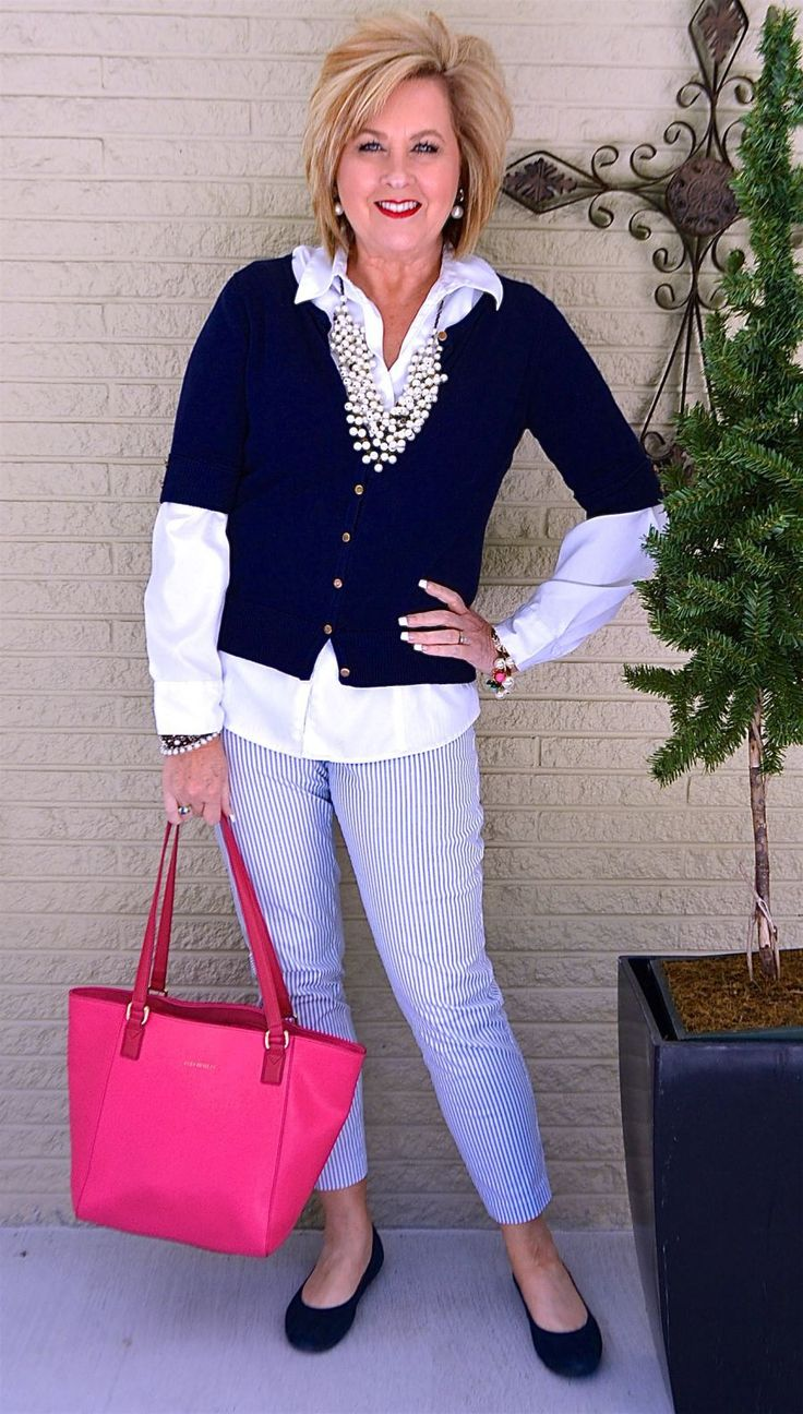 50 IS NOT OLD | PEARLS GO WITH EVERYTHING | Preppy | Classic | Stripes | Cardigan | Pop Of Color | Fashion over 40 for the everyday woman
