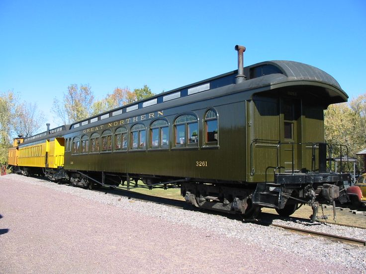 Restored clerestory cars on display at the Mid-Continent Railway Museum in North Freedom, USA.