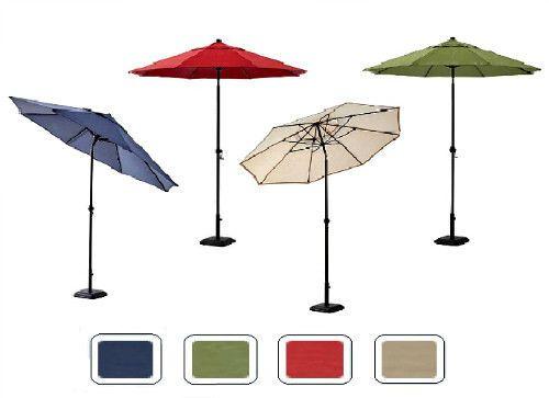 Outdoor Sun Shade Parasol 9Ft Garden Patio Umbrella Market Tilt Crank 4 Colours  #MainstaysDealsmarket #GardenMarketUmbrella