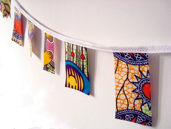 Party bunting African wax print garland 20 yards by ChilliPeppa, £55.00