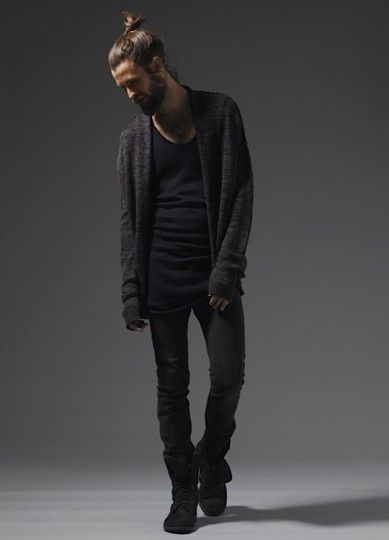 black on black, cardigan t shirt shoes hair beard great look men fashion streetstyle