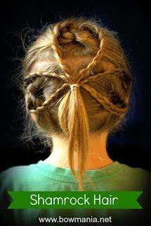 Easy Hair Tutorial for St. Patrick's Day     Shamrock Hair