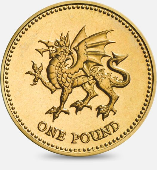 ♡::♡ Celtic ♡::♡ 1995 & 2000 'Dragon passant' representing Wales £1 (One Pound) Coin #CoinHunt