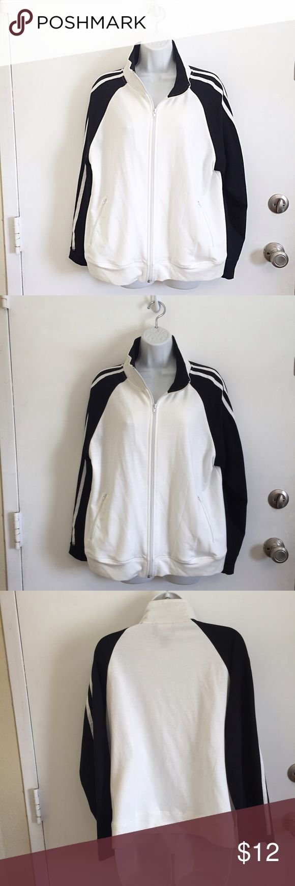 Athletic Style Zip Up Jacket Basic black and white zip up athletic style light jacket. Size XL. Has some piling/pulls on the inside but you can't see them when wearing. #jacket #lightweight #athletic #blackandwhite #xl #punkydoodle  No modeling Smoke and pet free home I do discount bundles Jackets & Coats