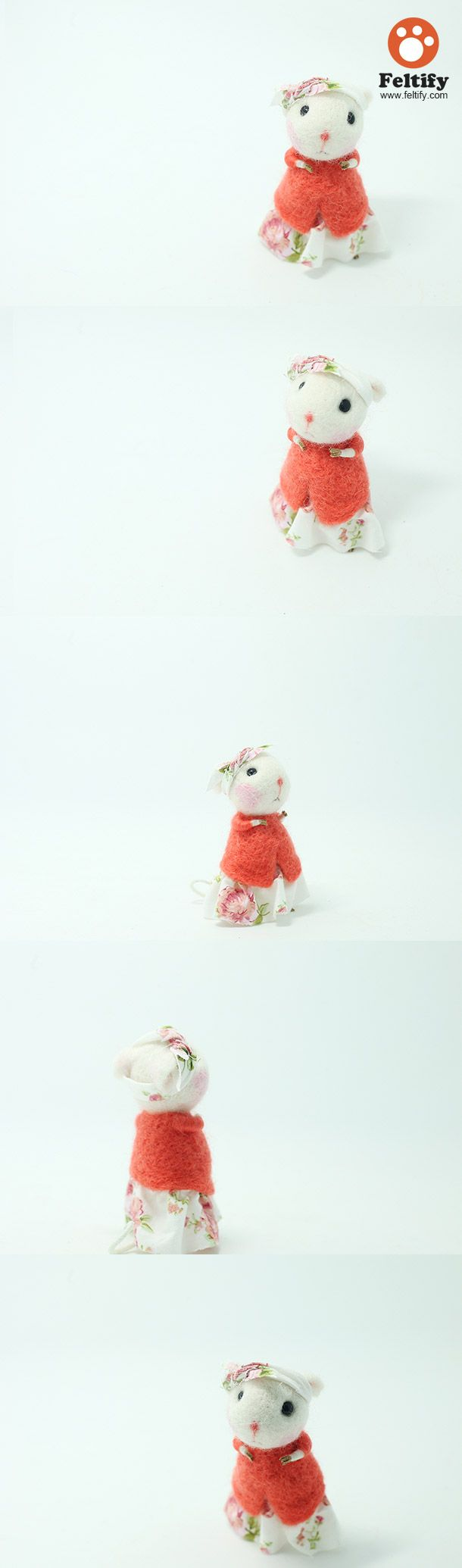 Needle Felted Felting wool Animals Cute Lady Mouse