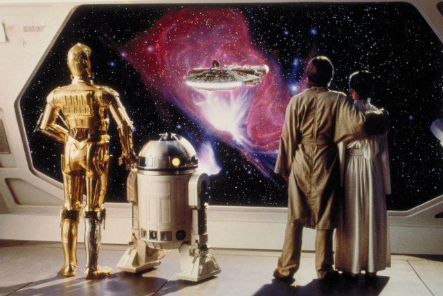 *C - 3PO, R-2 D-2, LUKE SKYWALKER (Mark Hamill) & PRINCESS LIEA ORGANA (Carrie Fisher) ~ Star Wars: Episode V - The Empire Strikes Back (1980)