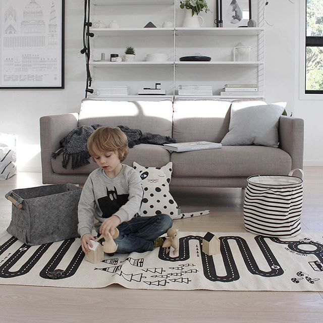 The school holiday living room takeover.  But who cares when the toys are as cute as this? The gorgeous Lucie Kaas wooden animals are from @urbaanihomewares || capturing Scandi design at its best, and keeping Marlow very busy, I'll be sharing more on the blog soon #luciekaas #gunnarflørning #collection #urbaanihomewares #oyoy #adventurerug #zorrocat #talointeriors