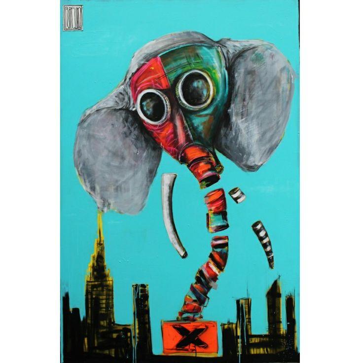 #wojciechbrewka #animal #elephant #smog #graffiti #art