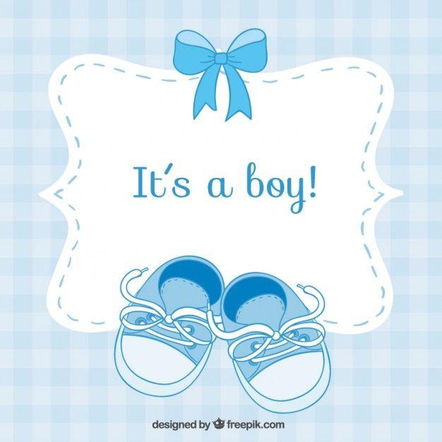 Tarjeta de bienvenida del bebé con zapatos pequeños Vector Gratis