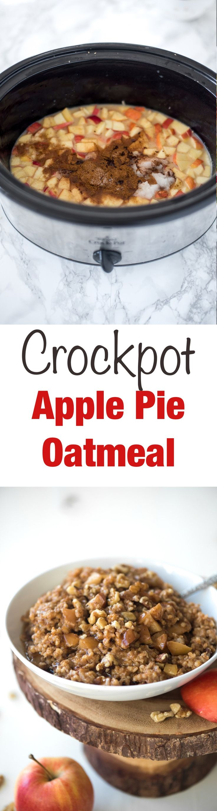 Crockpot Apple Pie Oatmeal- just throw everything into the crockpot the night before and wake up to a delicious healthy breakfast!