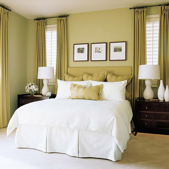 Restful green: Curtains, Guest Bedrooms, White Beds, White Linens, Colors Schemes, Master Bedrooms, Window Treatments, Bedrooms Decor, Bedrooms Ideas