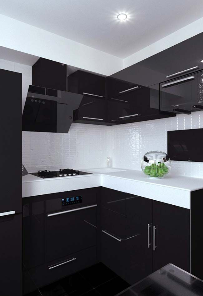 Black And Natural Wood Kitchen