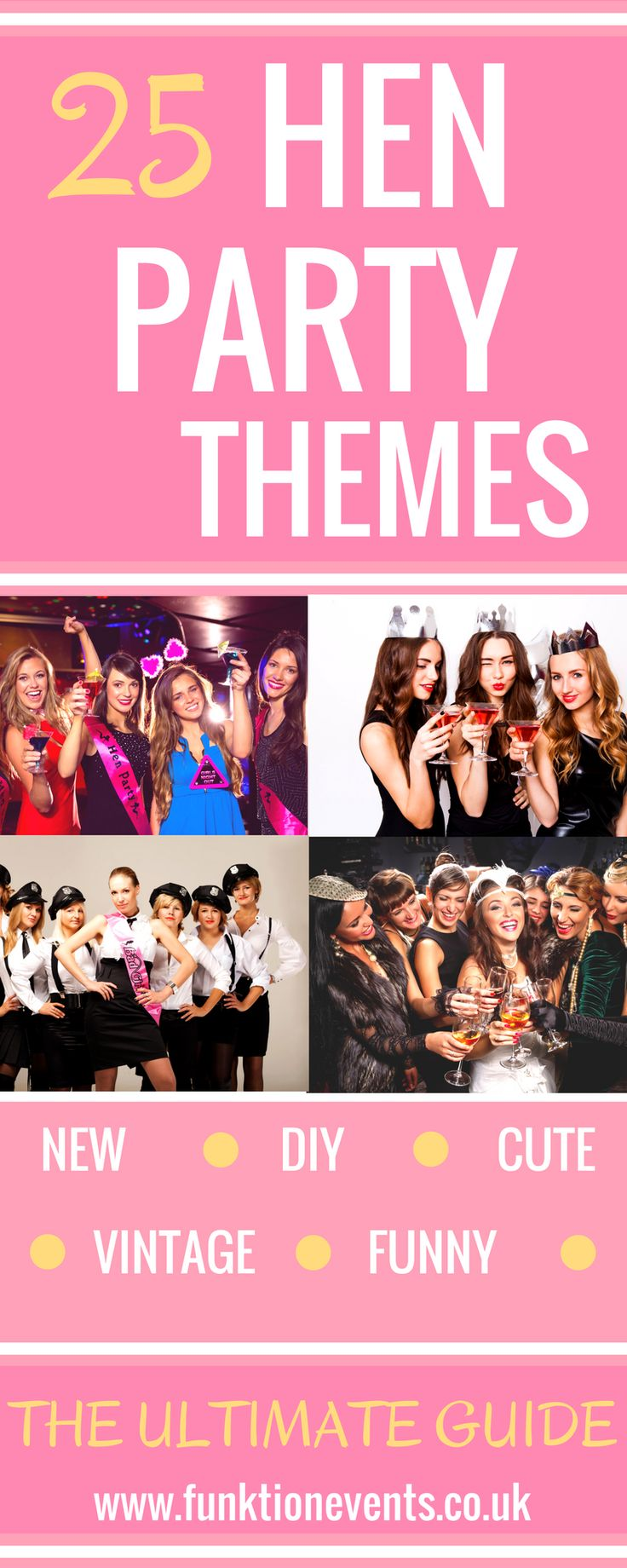 Take a peek at the ULTIMATE source for hen party themes! Includes popular themes, unique, cute, sexy & more! Everything you need for a perfect hen do theme.