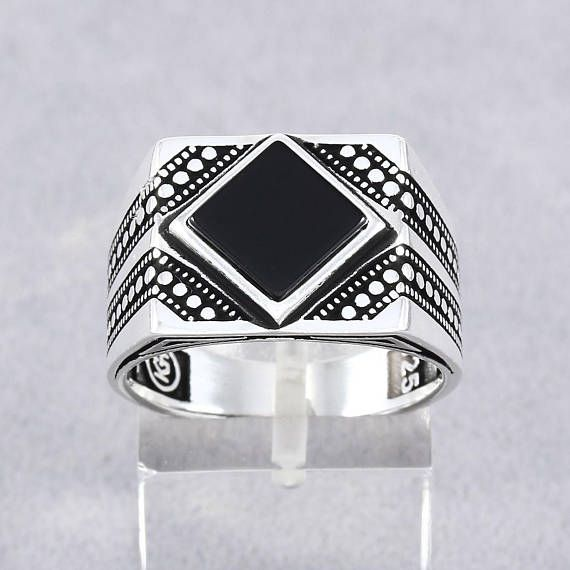 Baklava gemustert schwarz Onyx 925 Sterling Silber Herren Ring