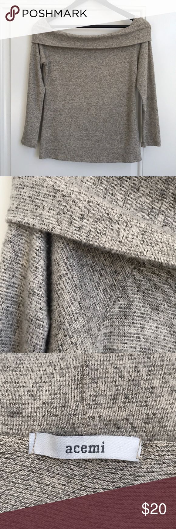 Acemi Bardot sweater size small Off the shoulder Bardot sweater. Beige/cream/tan blend of micro stripes. Very gently used, only worn twice. Soft, warm, light weight material. Fold over top is adjustable. Still has hanger straps attached. Acemi Sweaters