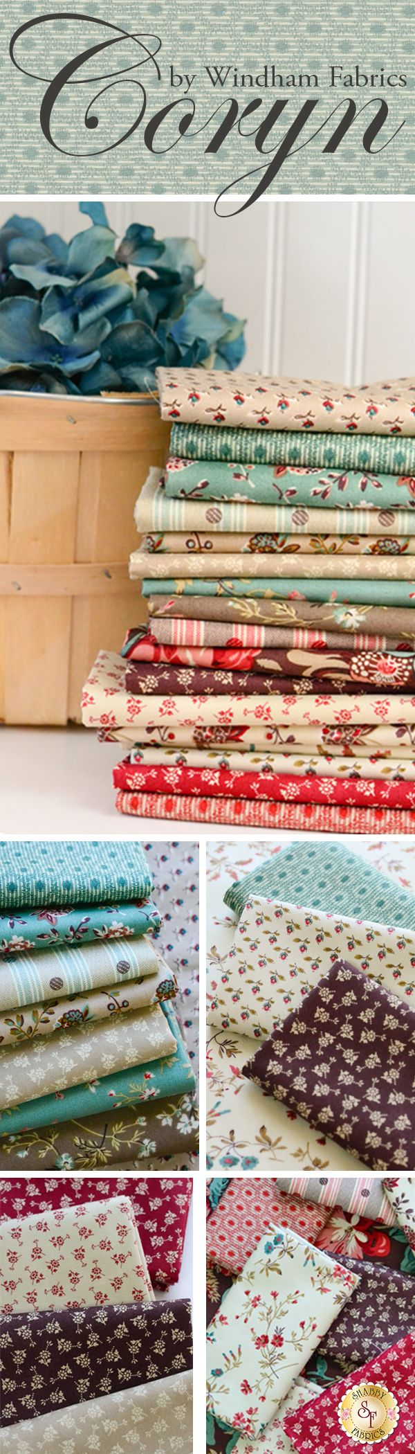 Coryn by Lisa DeBee Schiller for Windham Fabrics is a beautiful floral fabric collection available at Shabby Fabrics