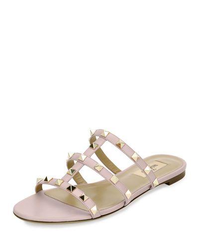4c098b239601 VALENTINO ROCKSTUD CAGED FLAT SLIDE SANDAL.  valentino  shoes ...