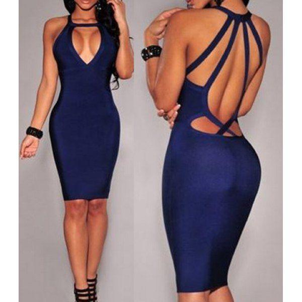 Sexy Round Neck Sleeveless Backless Bodycon Women's Dress