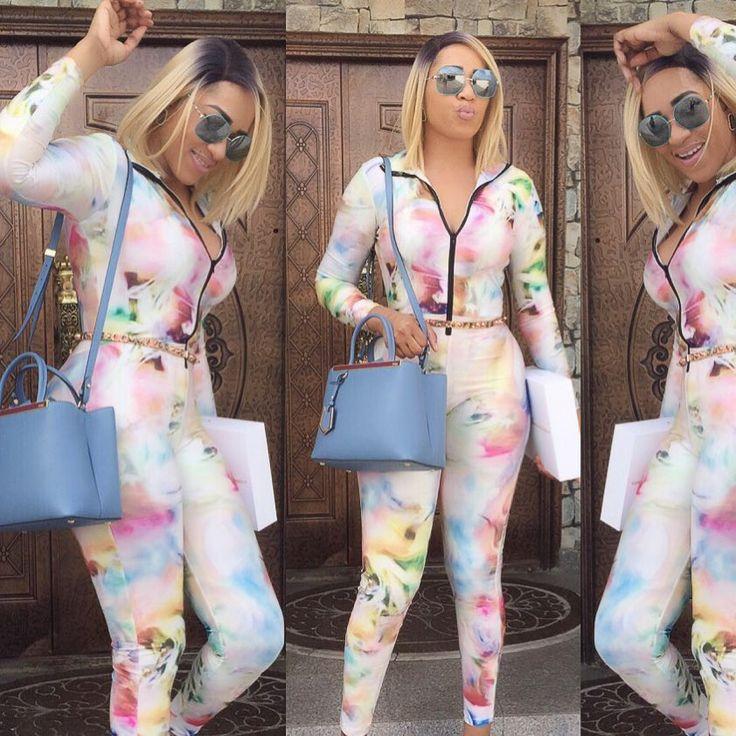 Rukky Sanda looking beautiful in multi-coloured jumpsuit (See Photos)