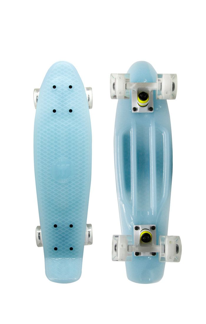 Glow Blue LED Wheels This durable Mayhem 22-in penny kids skateboard in glow blue is quite unusual. Uses LED lights inside the wheels. Awesome for cruising around campus or tricks in the skate park. P
