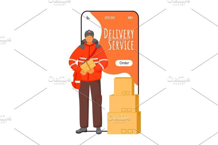 Post service delivery app screen , ad, screenappvector