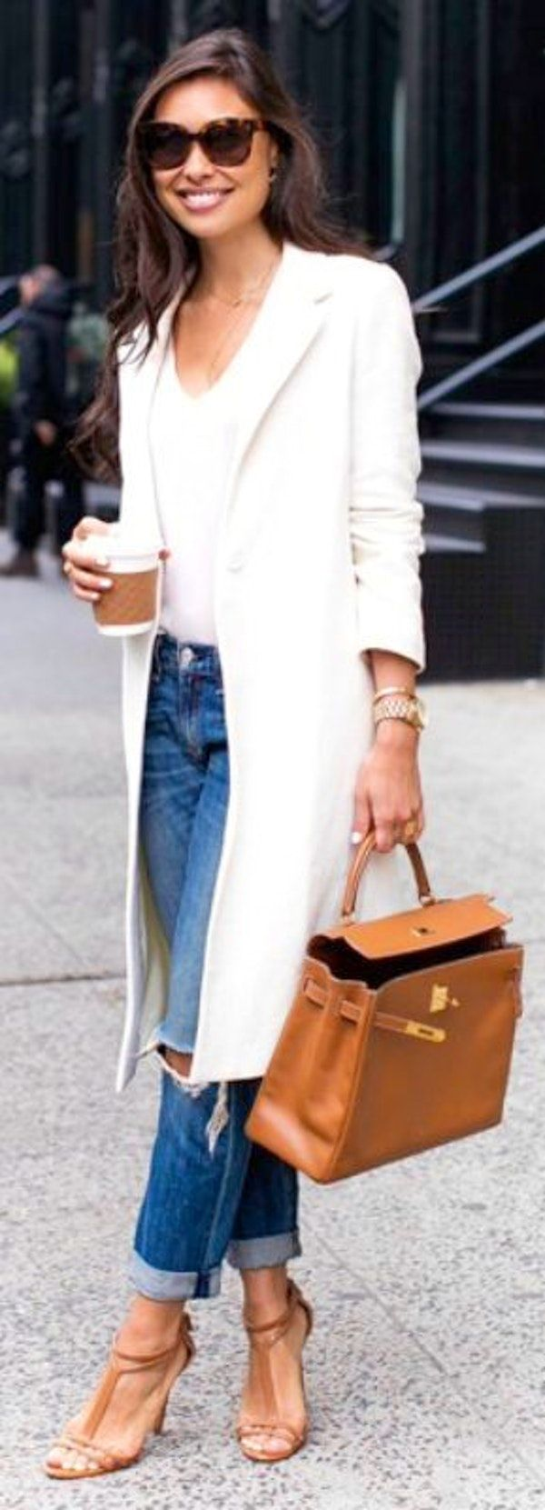 #winter #outfits white blazer, white scoop-neck shirt and distress blue-washed jeans outfit