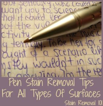 Pen stain removal tips and home remedies for clothes, upholstery, and even your skin! {from Stain Removal 101}