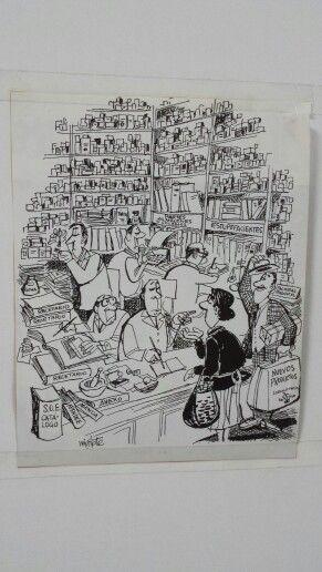 La farmacia vista por Mingote...detalle de una rebotica...detalles que nos gustan