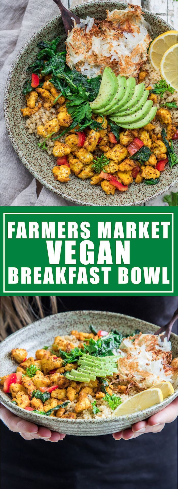 This vegan breakfast bowl is loaded with scrambled tofu, quinoa, hash browns, and fresh market veggies. It's delicious!