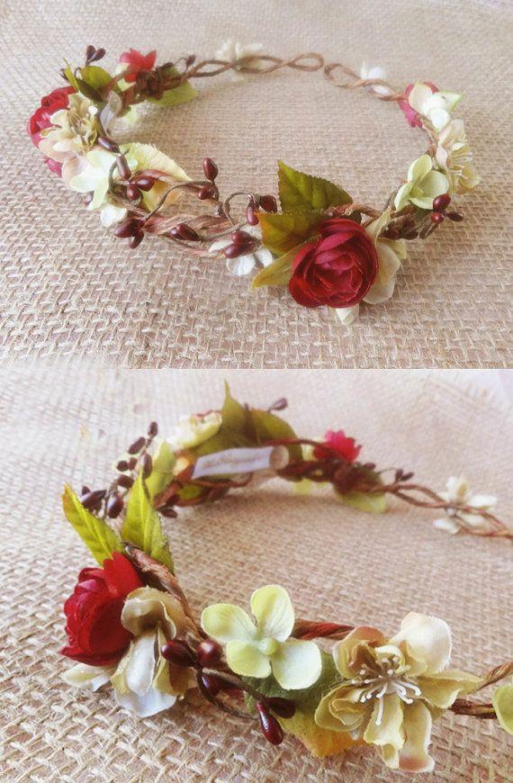 rustic flower crown, woodland wedding floral circlet, dark red, olive green headpiece - WOOD NYMPH - bridal head piece, flower wreath