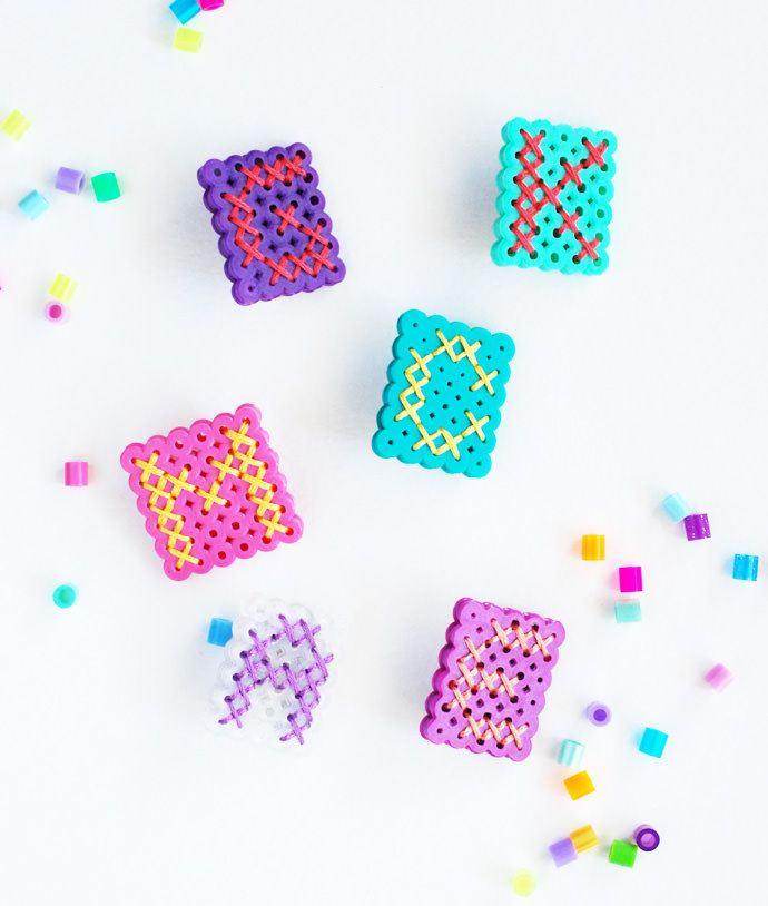 Here's a fun and easy way to make super cute monograms using perler beads and a little thread.