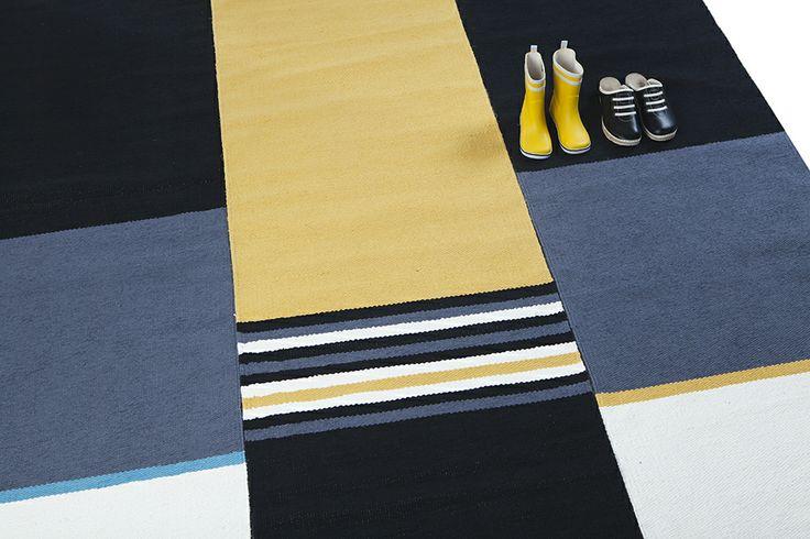 Minimo and Maximo - moderni räsymatto keltaisena ja turkoosina -modern ragrug colors yellow and turquoise
