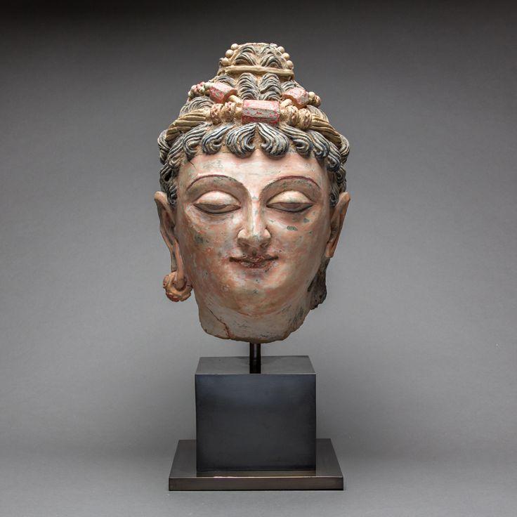 Gandharan Stucco Head of a Bodhisattva 13″ (33.0cm) high