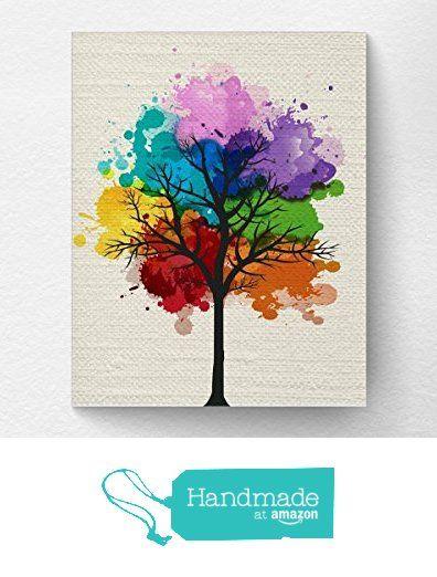 Chakra Rainbow Tree Wall Art Print, Tree Nature Home Decor, Splatter Tree Art from Lotus Leaf Creations