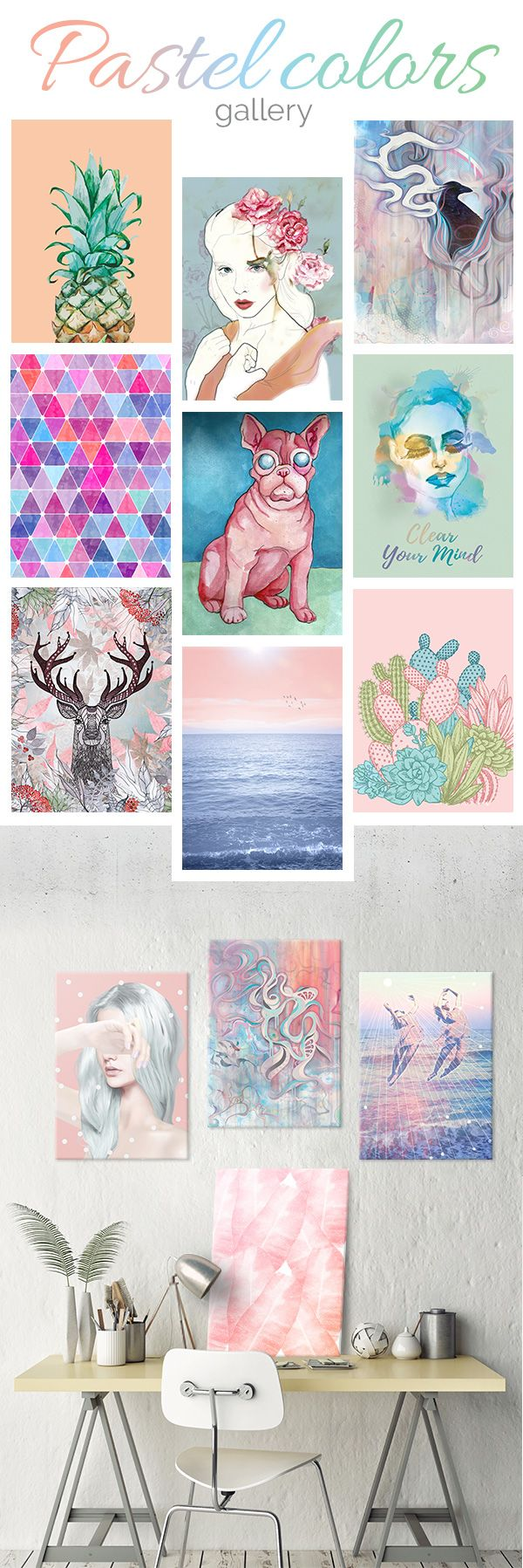 Beautiful metal prints in pastel colors to make your interior cosy and sweet. Click through to see more such cool metal posters! #pastel