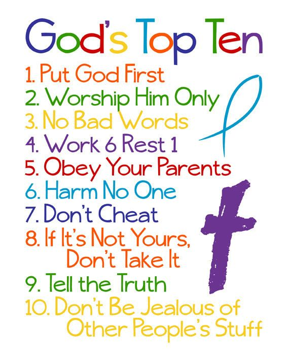 Please read entire description before purchase :)  Gods Top Ten - Ten Commandments For Kids - Exodus 20  Great for a nursery, childs room, playroom, or anywhere in your home. Also makes a great gift for the kid in your life.  OPTIONS: This high resolution instant download printable comes in the 8 x 10, 11 x 14, and 16 x 20 sizes.  DELIVERY & PRINTING: Little Life Designs instant download printables are high resolution digital .jpg files. Once the printable is purchased, you will be taken ...