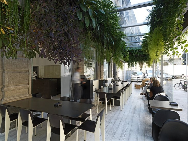 The Unexpected Garden is a project for the Trussardi Fashion House; the extension of the Trussardi Cafe through a closed terrace acts as a glass case with a real hanging garden suspended from the roof, made possible thanks to the 'green wall' invented by the French botanist Patrick Blanc.