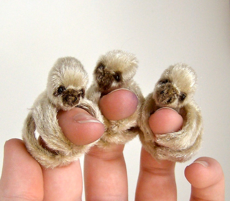 brown finger sloth by channingface on Etsy. OH DEAR.